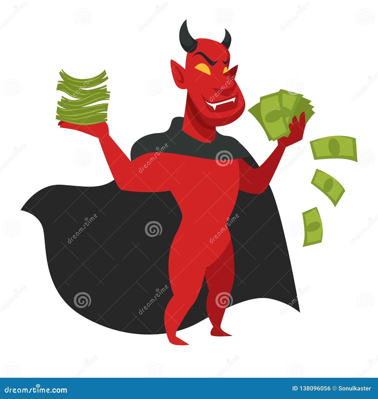 Дьявол с деньгами в черным характере изолированном плащем