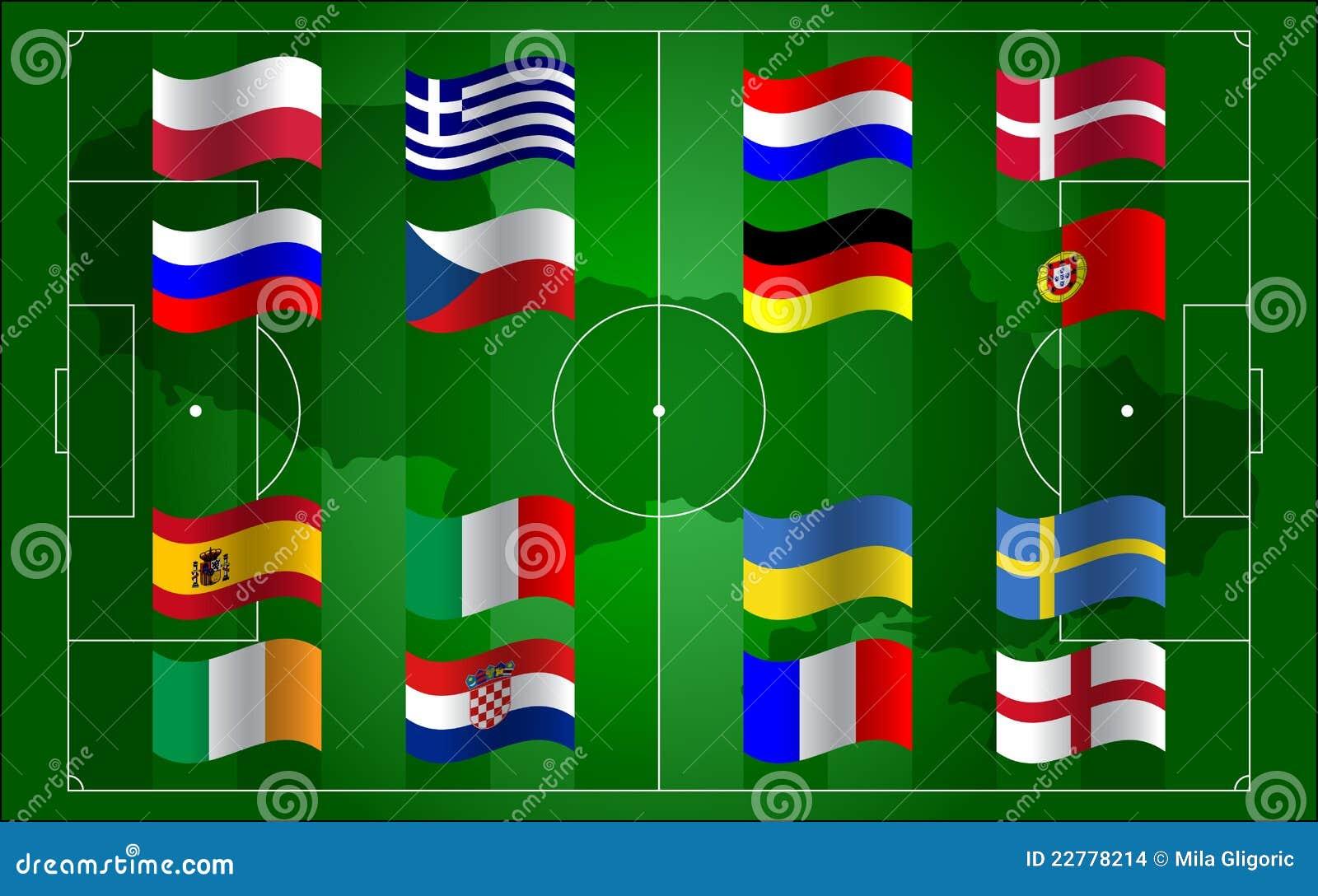 Евро 2012 UEFA и футбольное поле флага