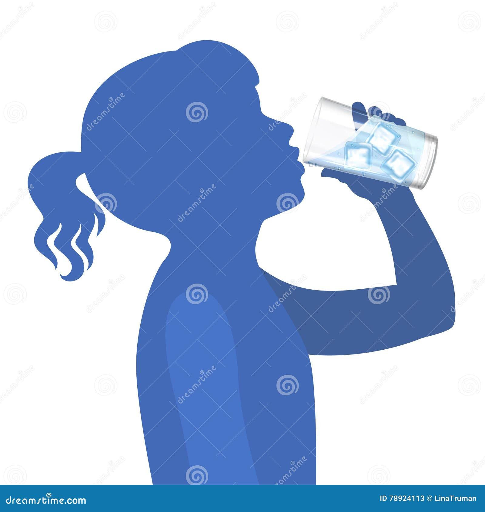 девушка питья меньшяя вода concept healthy lifestyle вектор