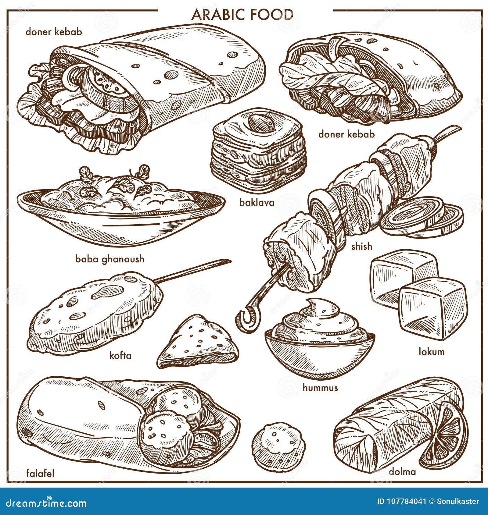 Еда арабской кухни традиционная dishes значки меню эскиза вектора