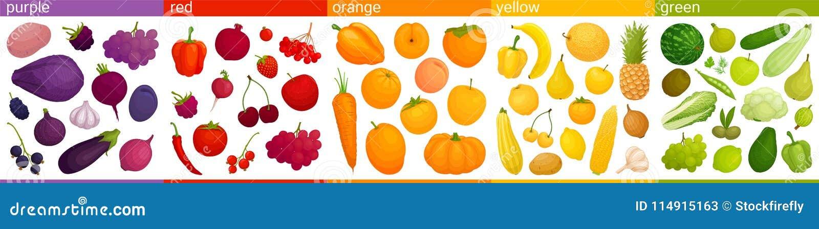 Еда вектора красочная Соединяют овощи и плоды в группах согласно цвету