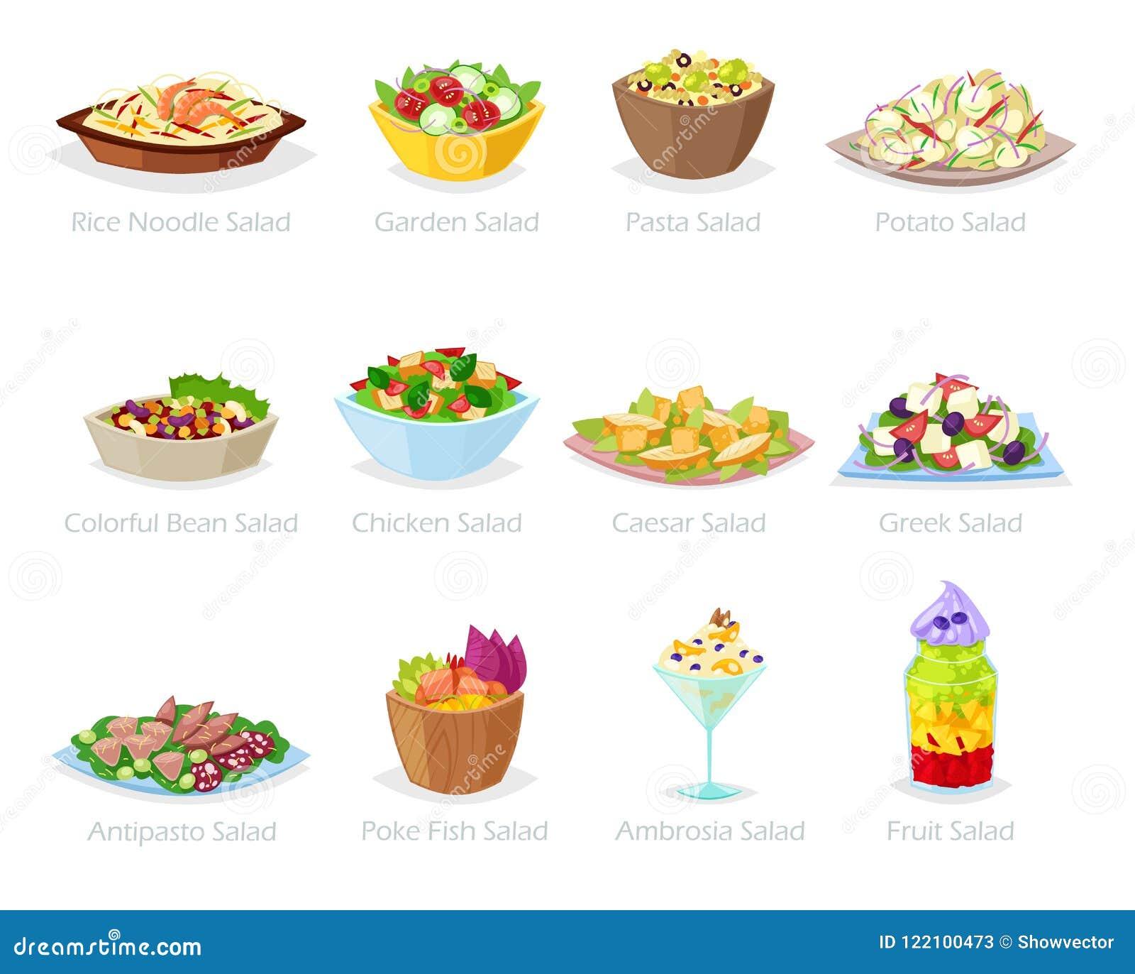 Еда вектора салата здоровая с свежими овощами томатом или картошкой в салатнице или салат-блюдом для обедающего или обеда