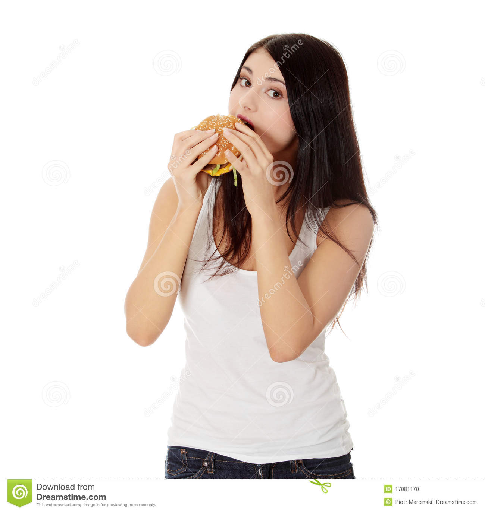 еда женщины гамбургера