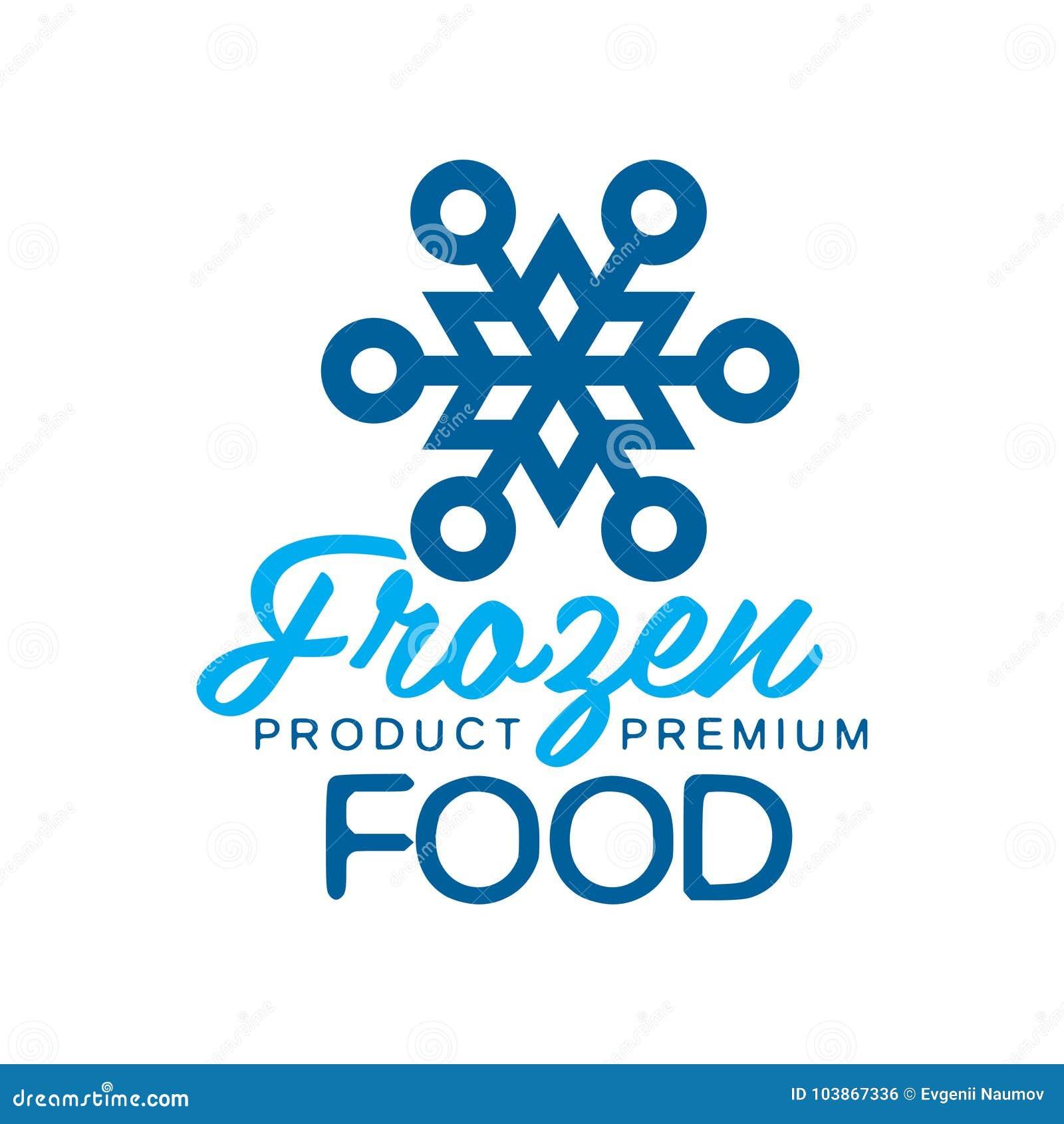 Еда замороженного продукта наградная, ярлык для замерзать с иллюстрацией вектора знака снежинки