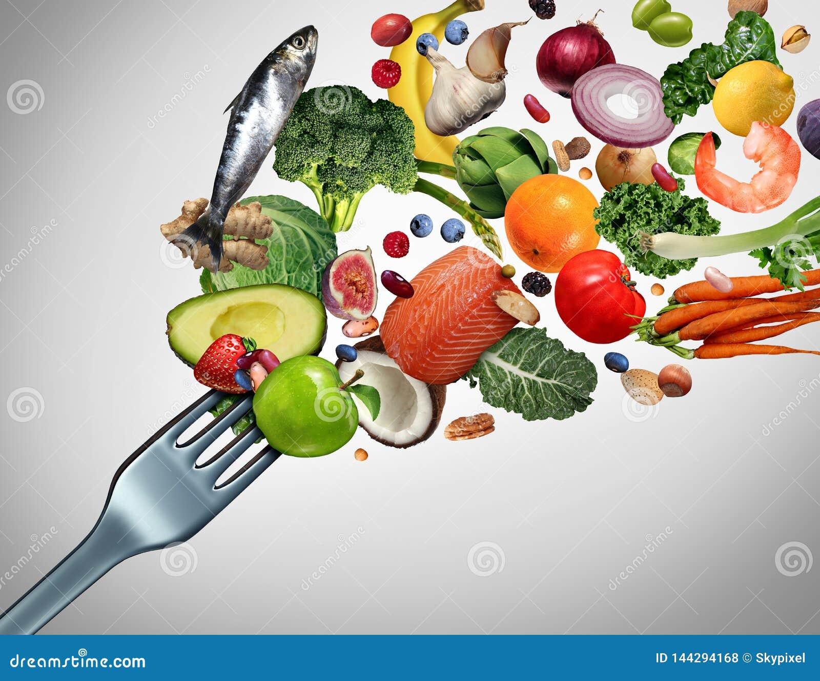 Еда здоровой еды и свежего питания ингредиентов