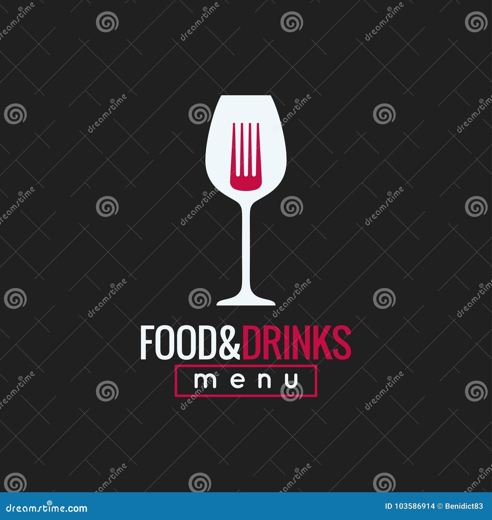 Еда и дизайн логотипа питья Предпосылка бокала и концепции вилки