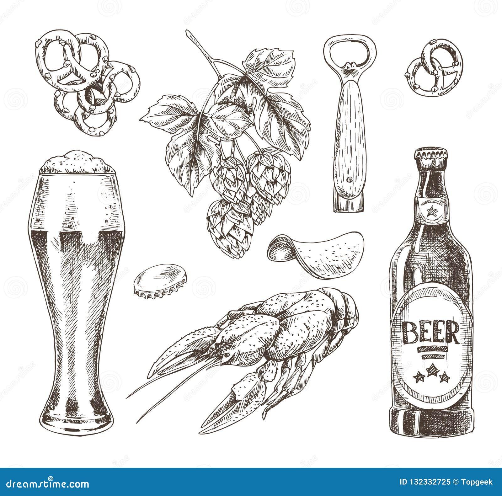 Еда пива и завтрак-обед иллюстрации хмеля графической