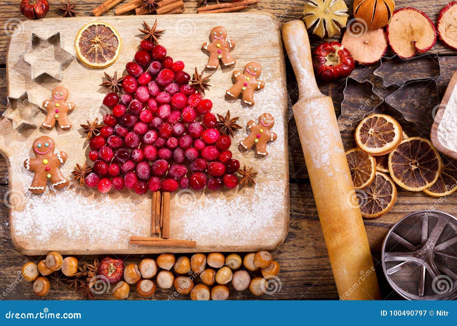 Еда рождества Ингридиенты для варить выпечку рождества, верхнюю часть VI