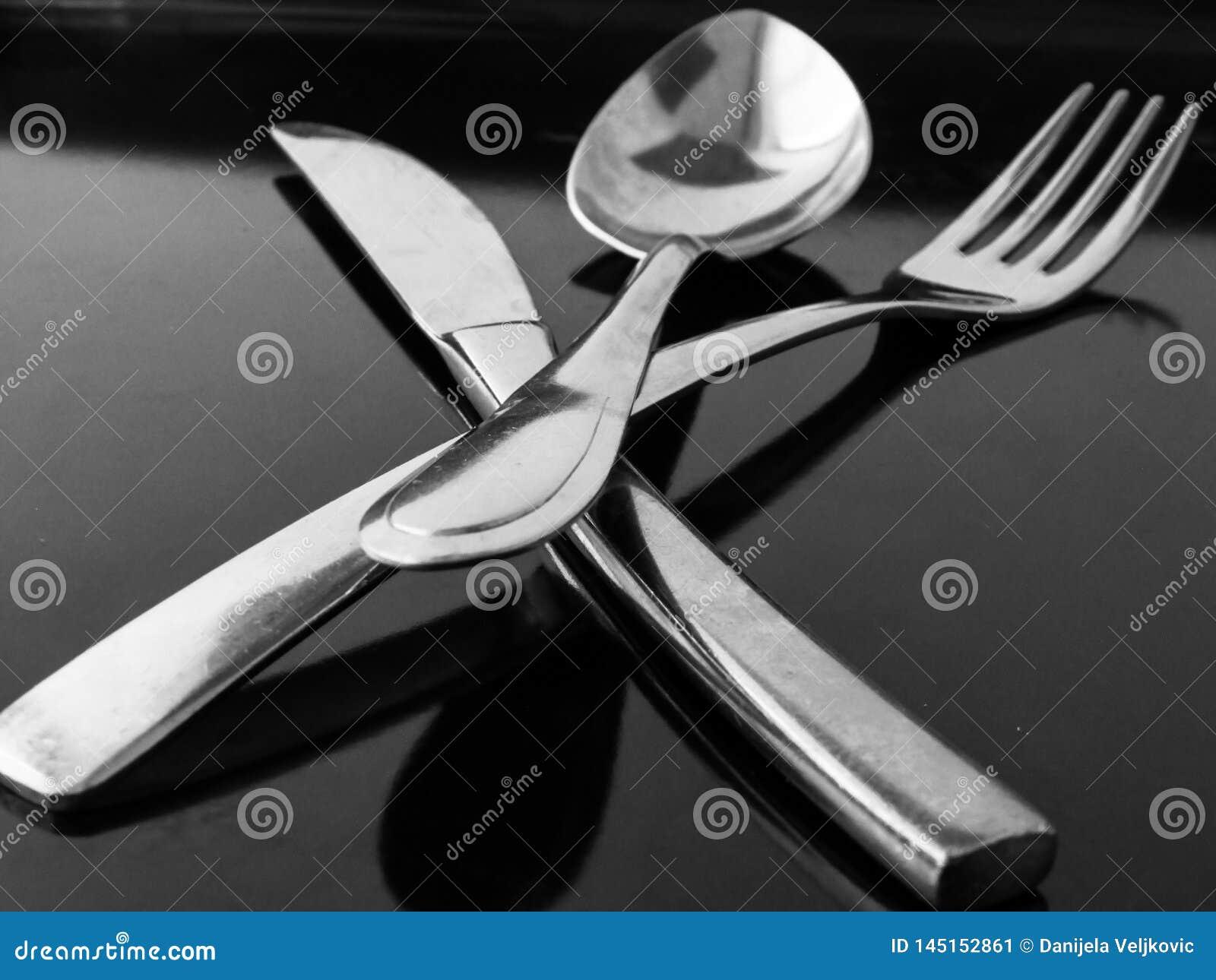 Еда столового прибора ножа вилки ложки