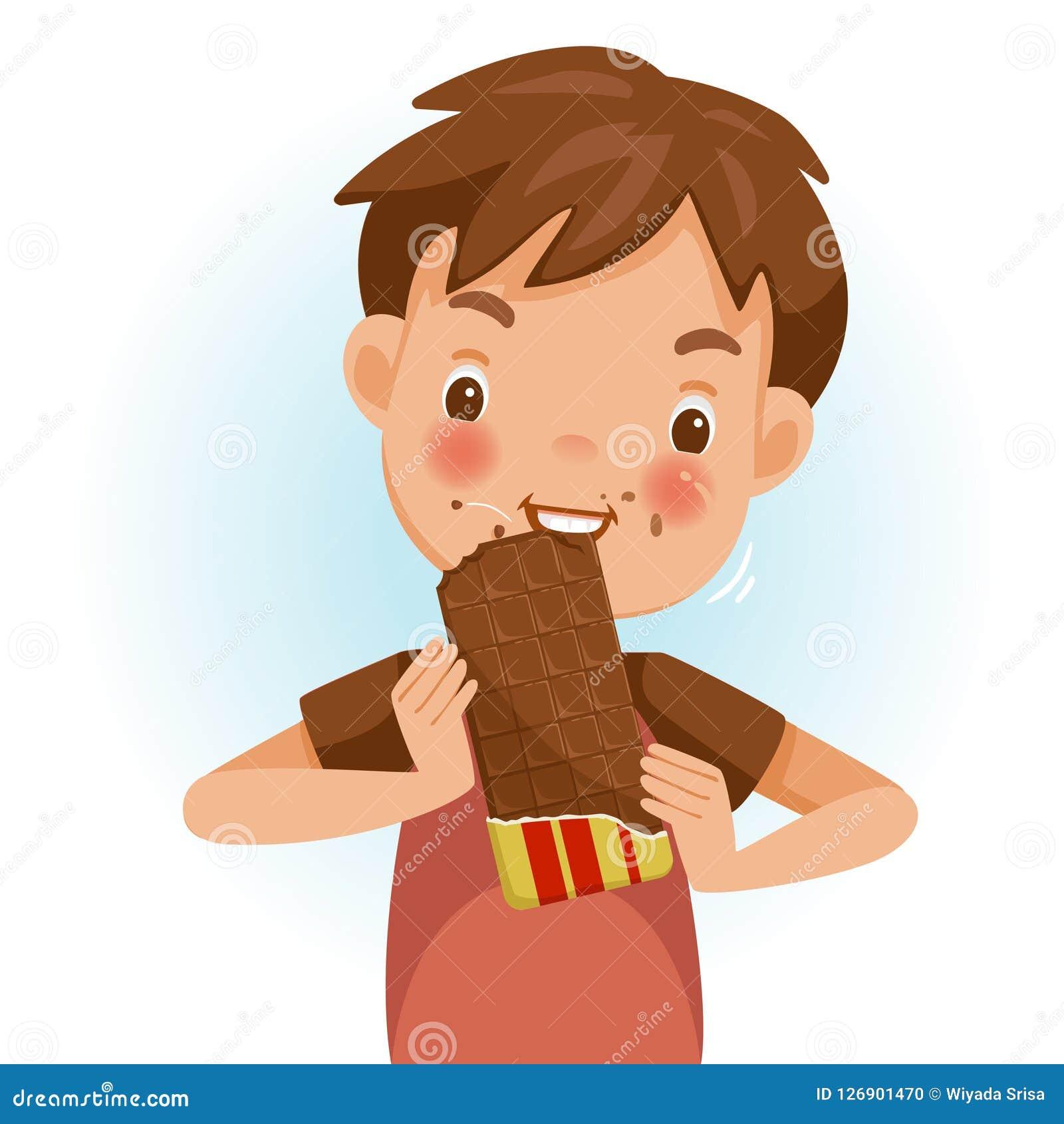 еда шоколада мальчика