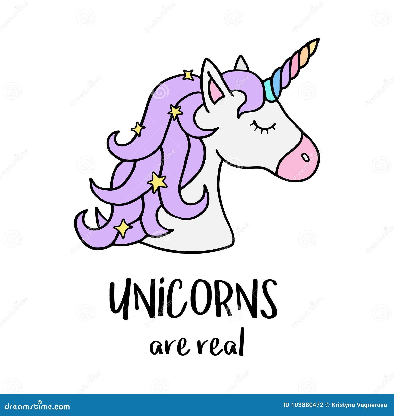 Единороги реальны, голова ` s единорога с рожком радуги