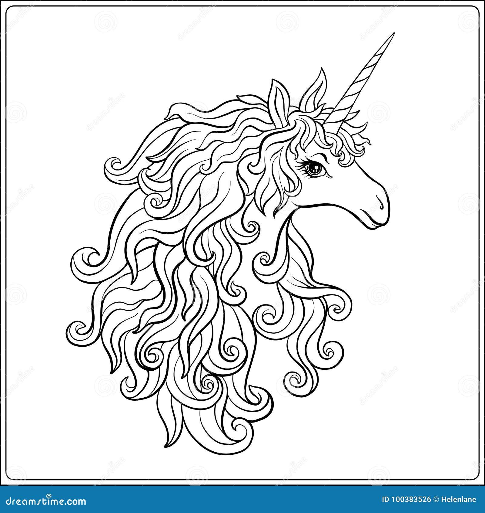 единорог страница расцветки чертежа плана книжка раскраска