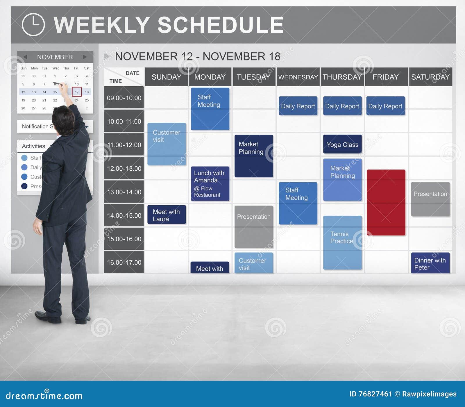 Еженедельный план-график для того чтобы сделать концепцию назначения списка