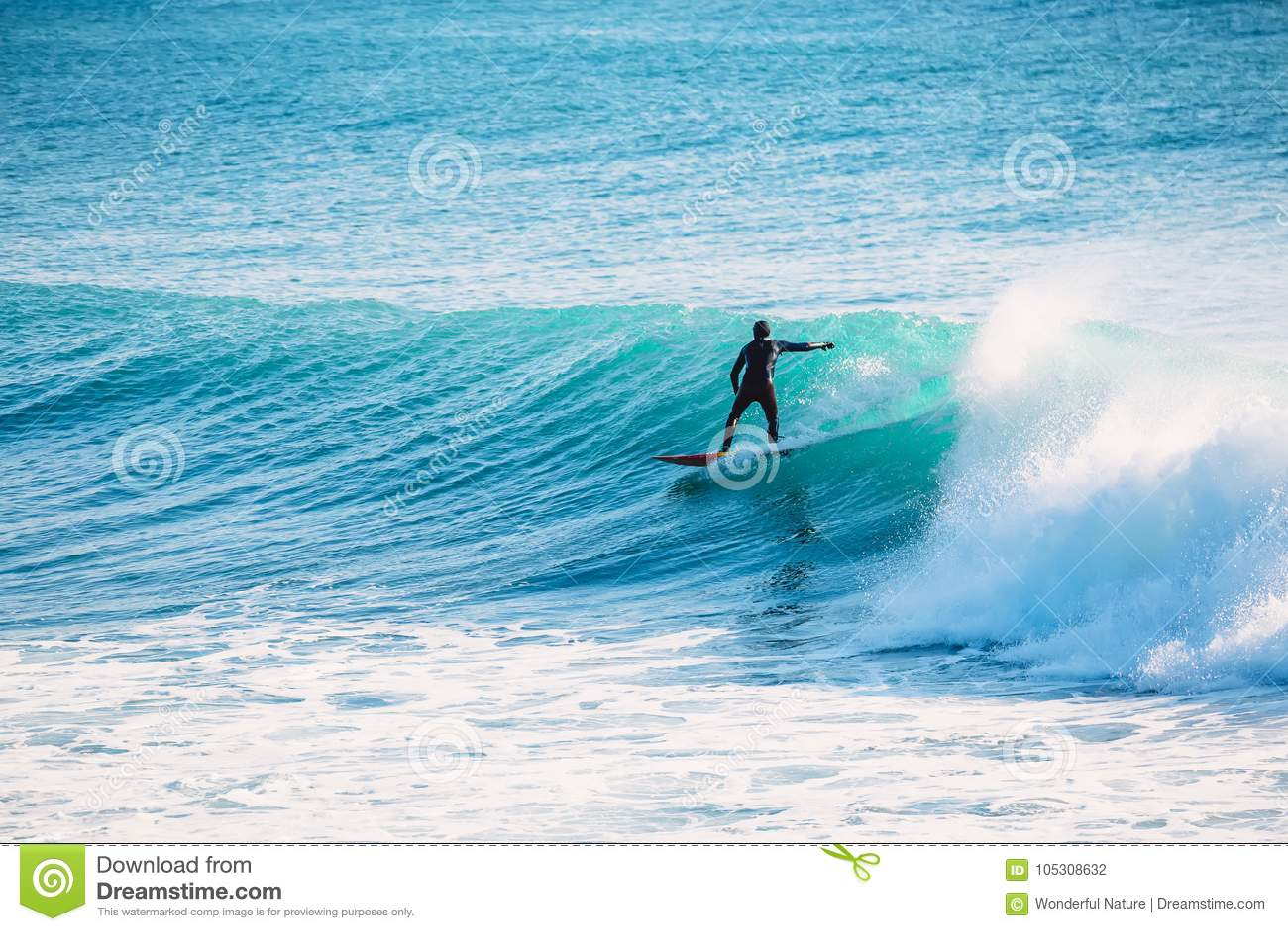 Езда серфера на голубой волне Зима занимаясь серфингом в океане