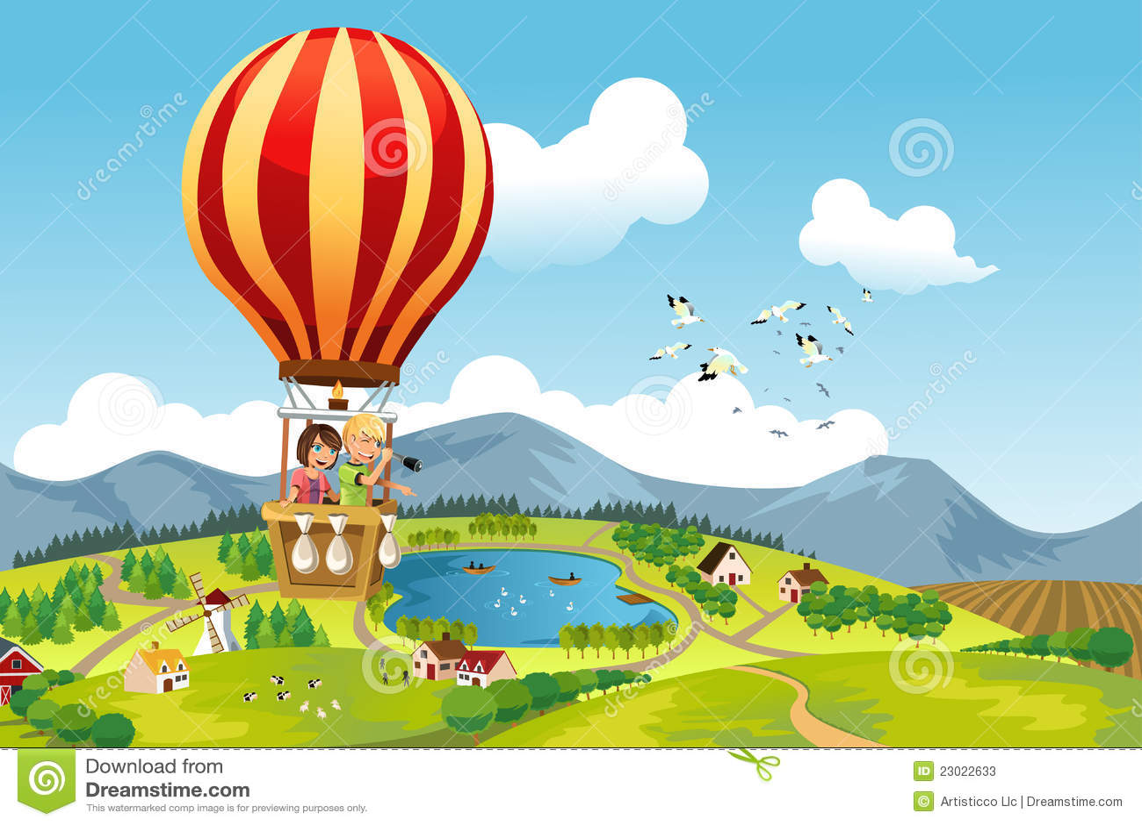 ехать малышей воздушного шара горячий