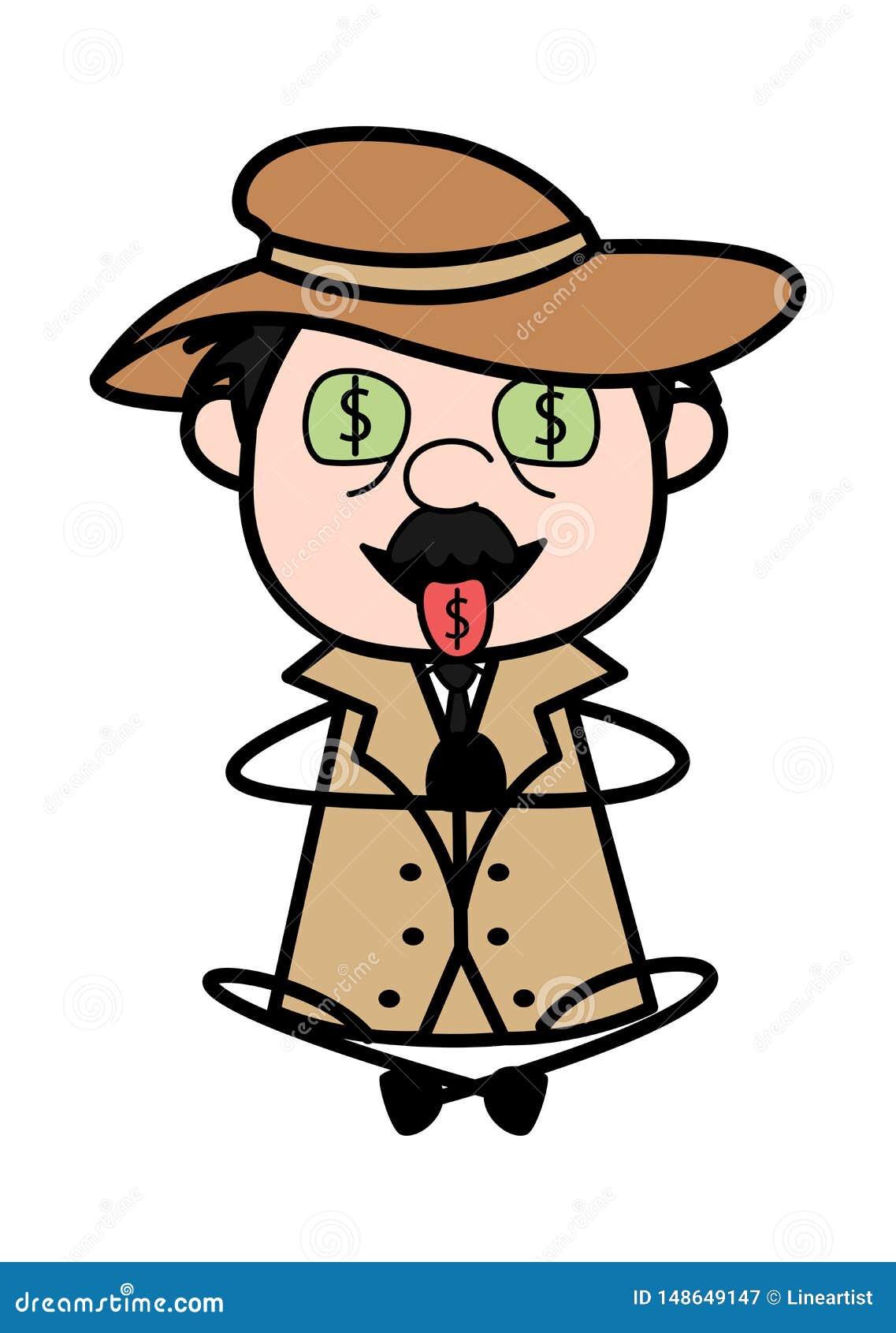 Жадность денег - ретро иллюстрации вектора полицейского агента мультфильма сыскной