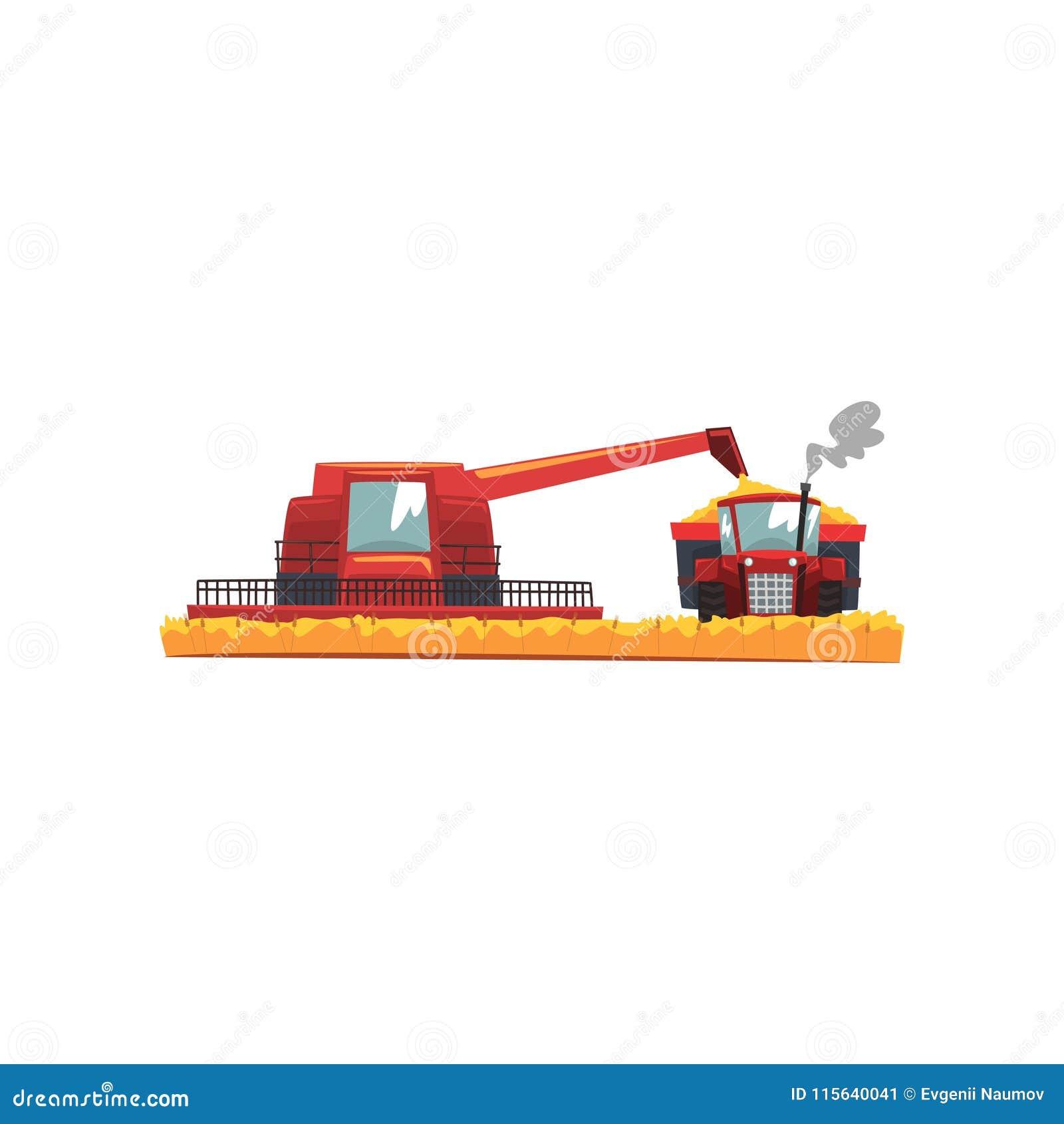 Жатка и трактор зернокомбайна зерна работая в поле, иллюстрации вектора сельскохозяйственной техники на белой предпосылке