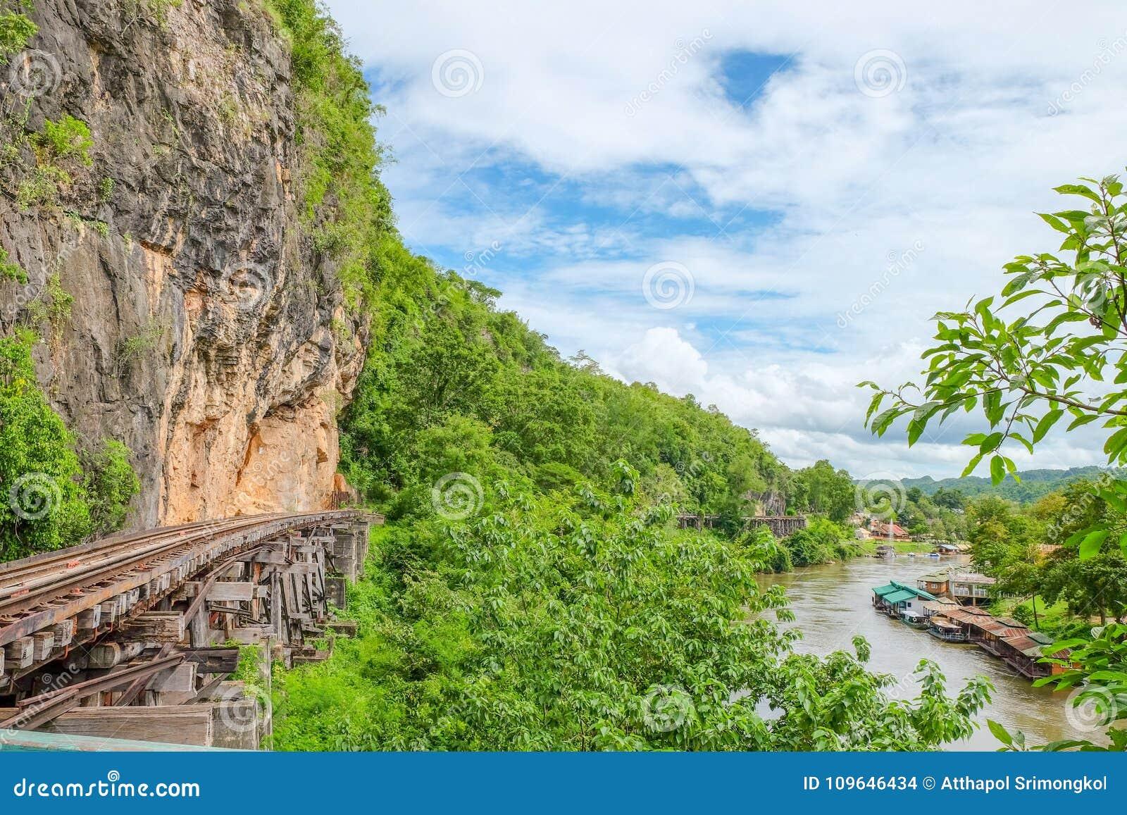 Железная дорога смерти или железная дорога Таиланд-Бирмы на Второй Мировой Войне железные дороги были построены через скалу около