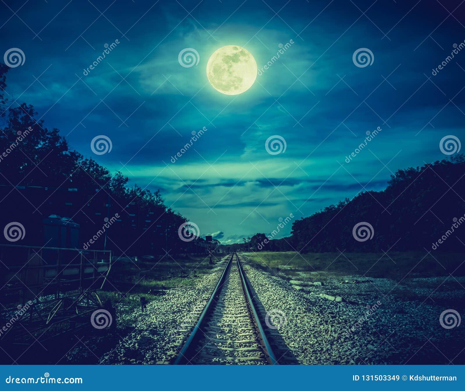 Железнодорожные пути через древесины на ноче Красивые небо и полнолуние над силуэтами деревьев и железной дороги Природа спокойст
