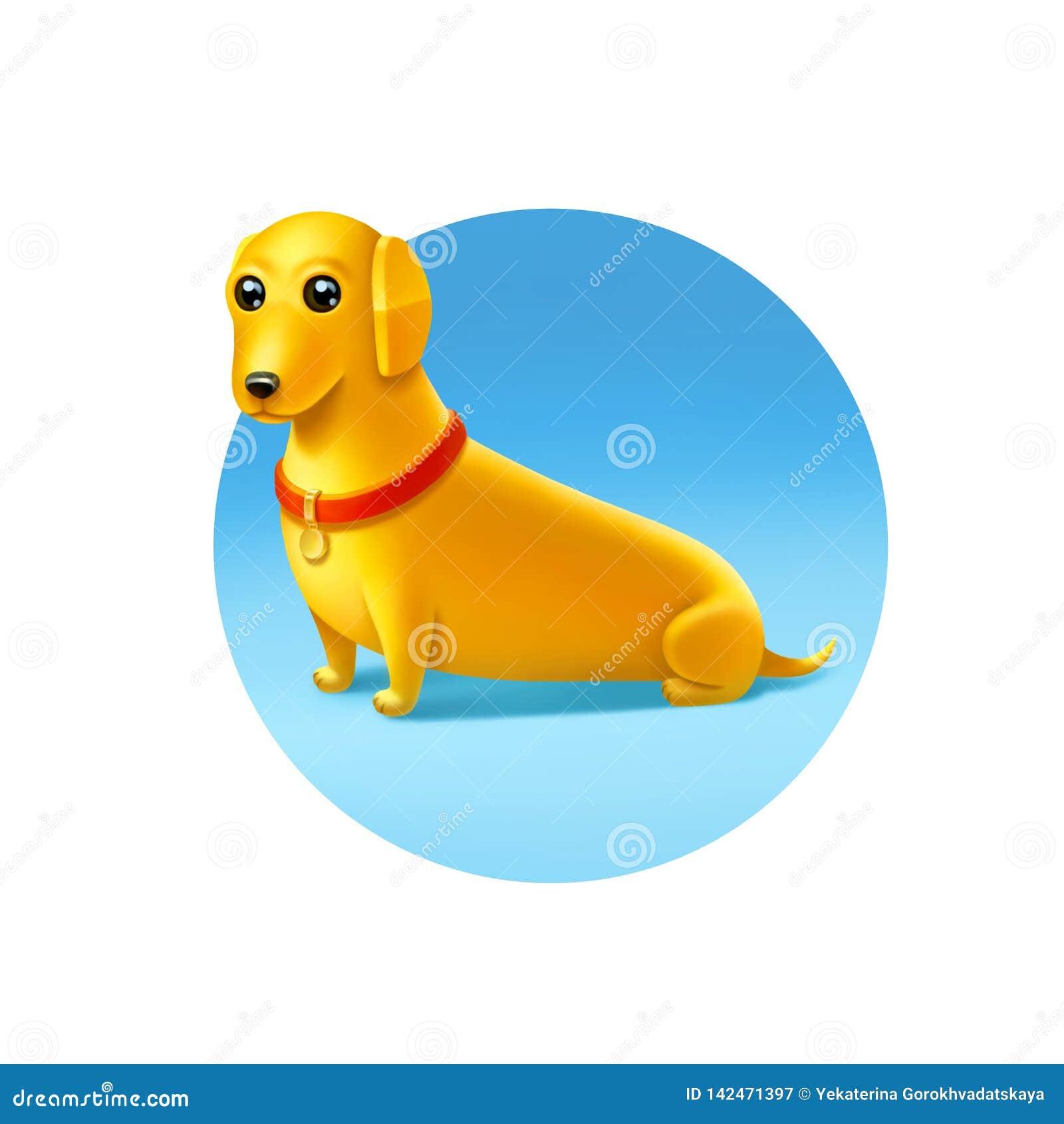 Желтая собака с красным воротником на светлом - голубая предпосылка