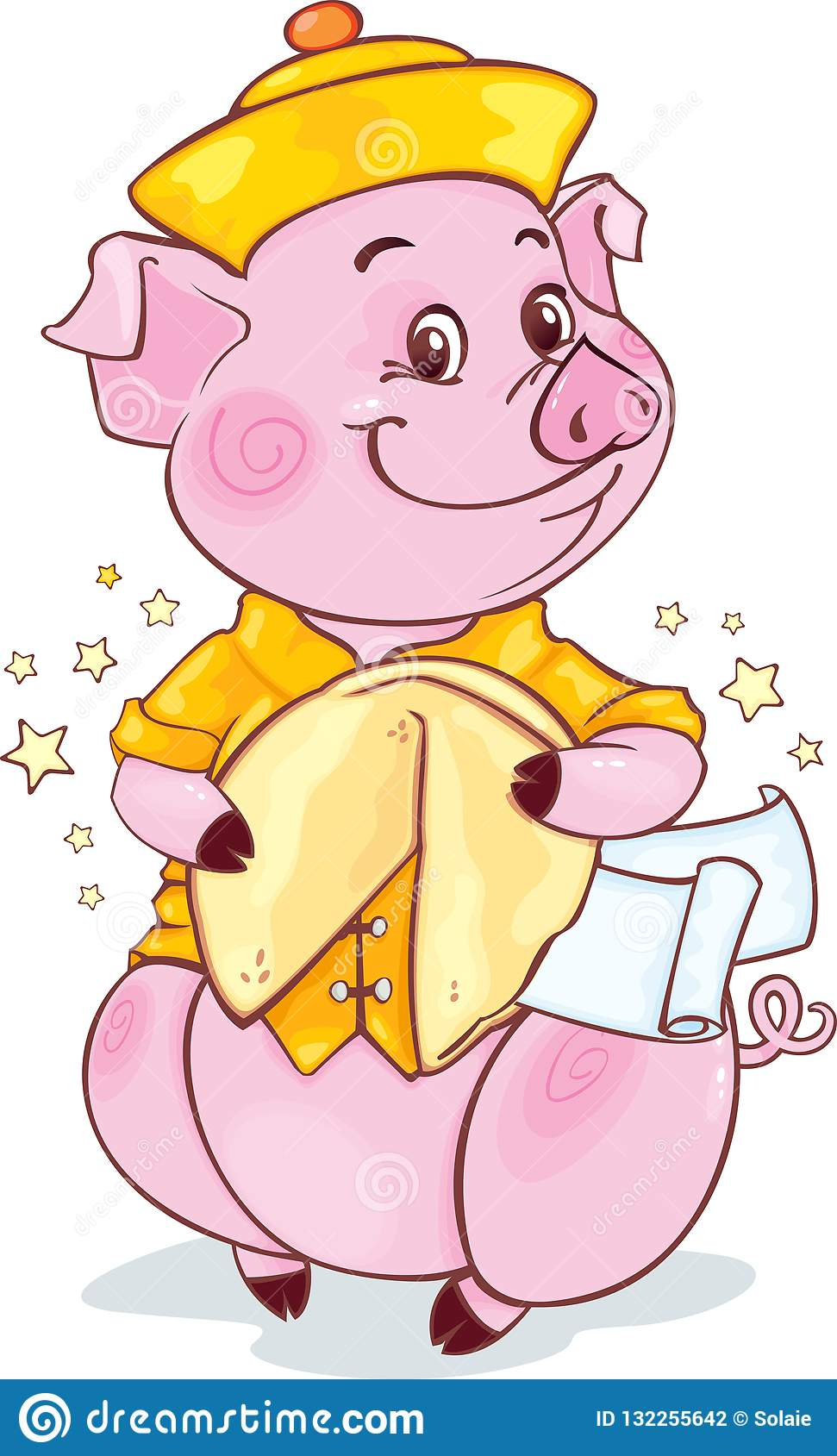 Желтая Earthy свинья с печеньем с предсказанием на Новый Год 2019 отрезок