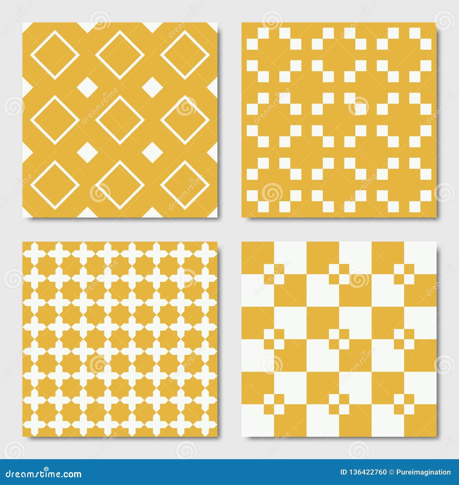 Желтые безшовные геометрические картины