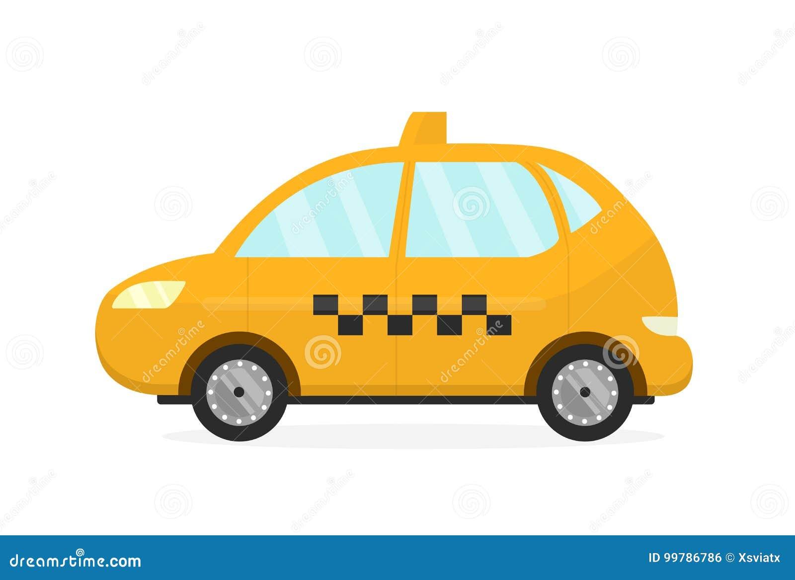 Желтый автомобиль такси Вектор плоско современный