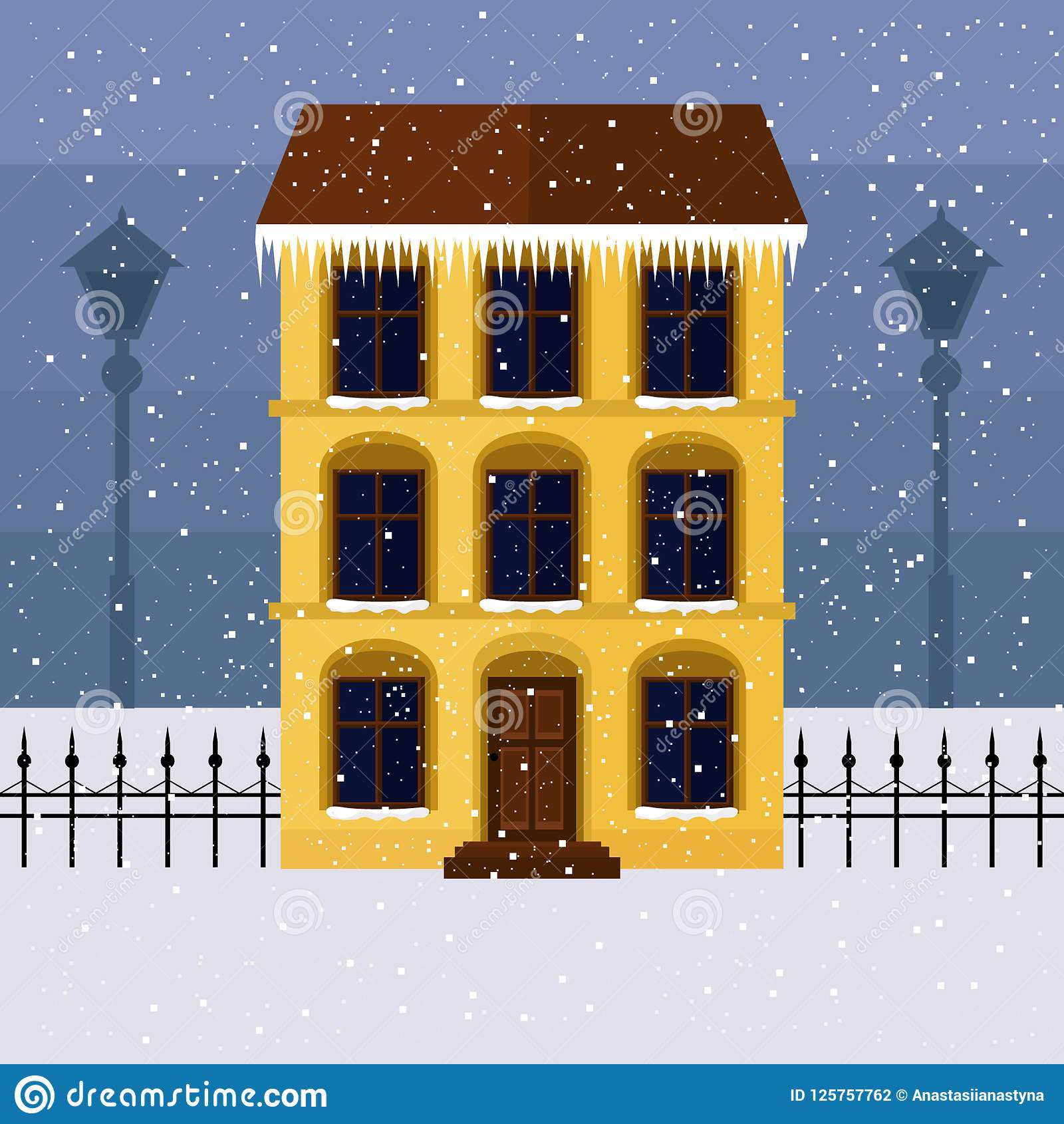 Желтый дом на улице зимы