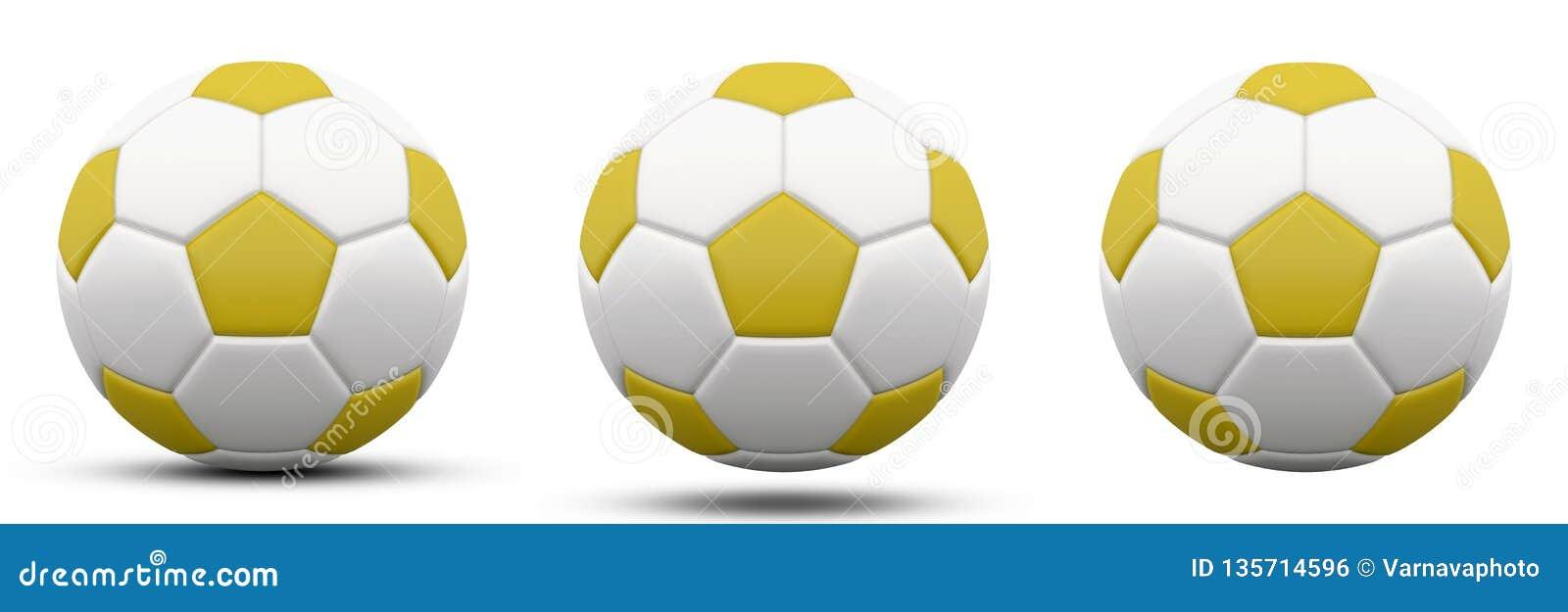Желтый и белый футбольный мяч в 3 версиях, с и без тени Изолировано на белизне 3d представляют