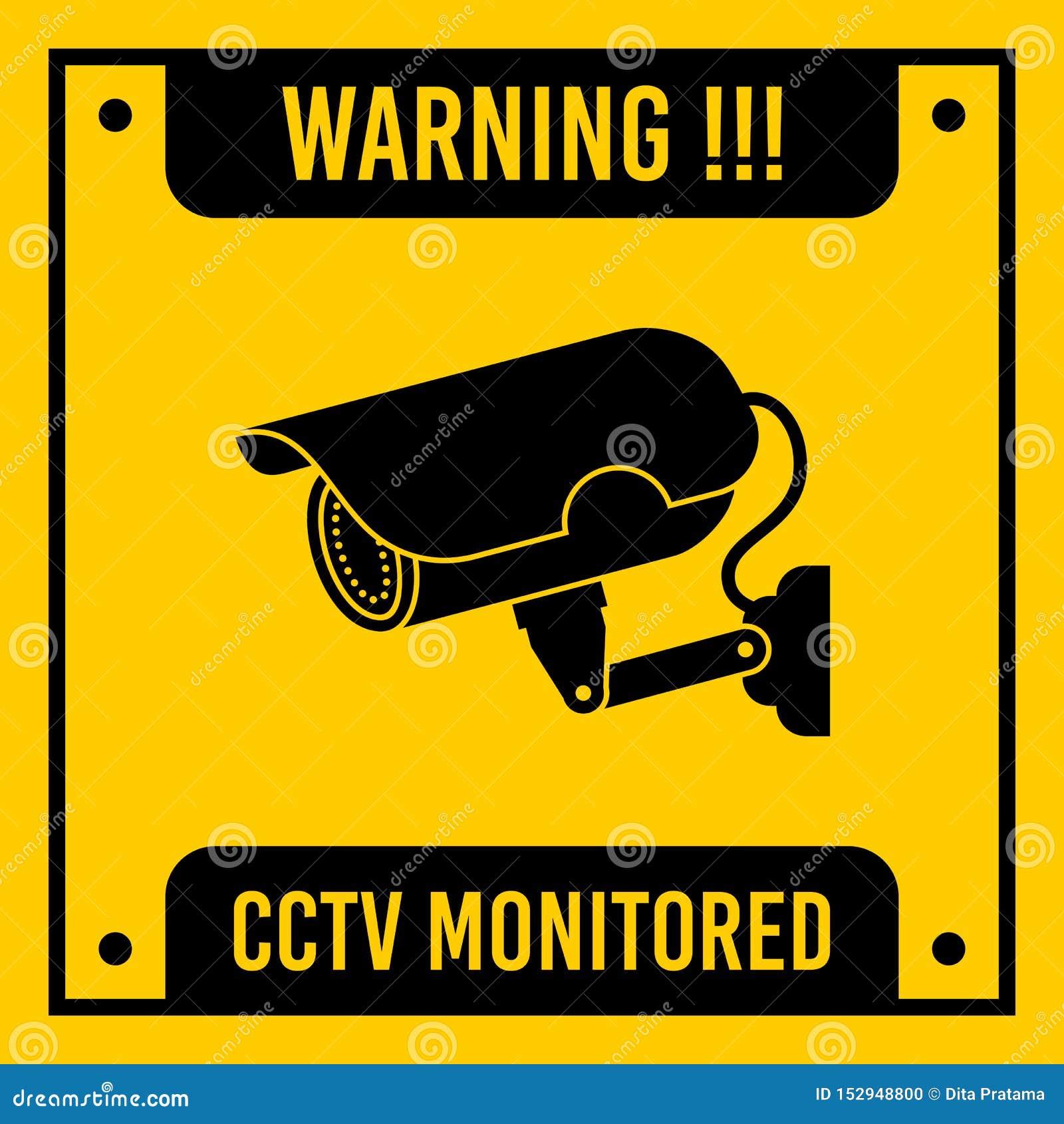 Желтый контролируемый CCTV, знак вектора