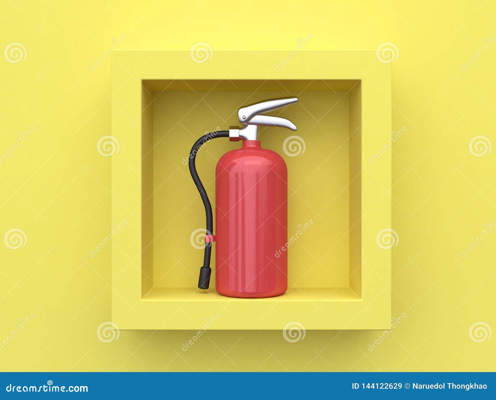 Желтый огнетушитель перевода предпосылки 3d внутри квадратной рамки