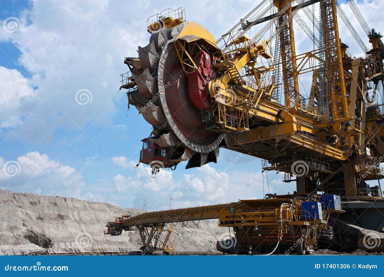 желтый цвет стали шахты землечерпалки угля