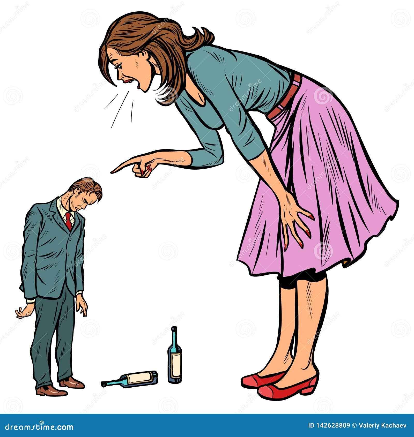 Жена браня пьяного супруга