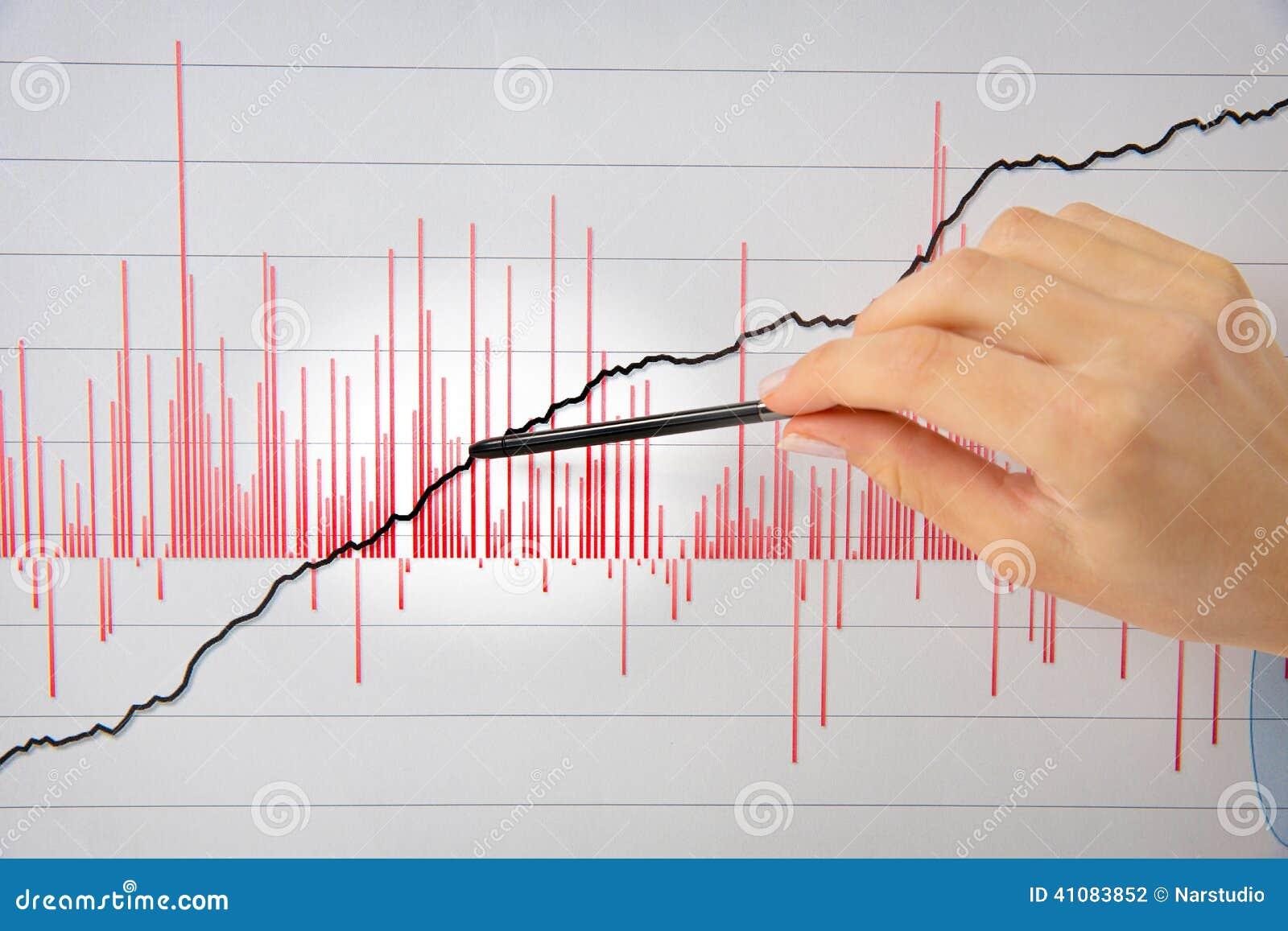 Женская рука указывая ручка на белой диаграмме