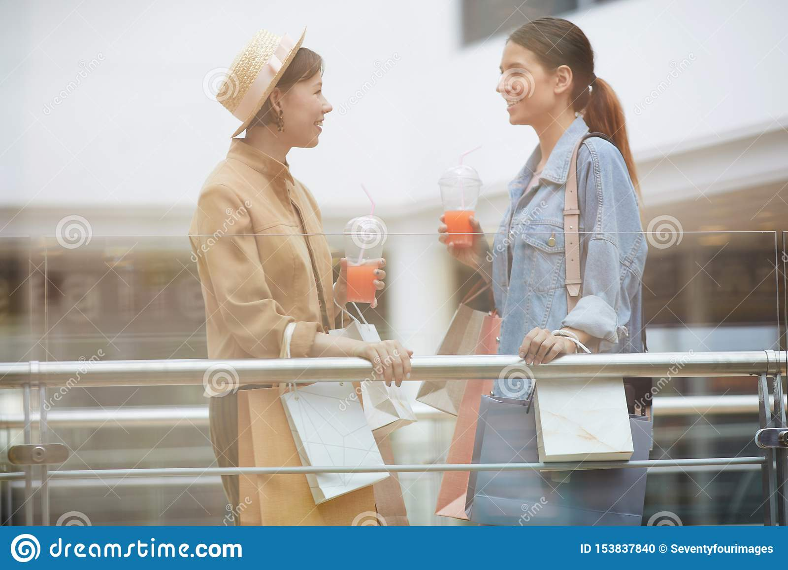 Женские друзья беседуя в торговом центре