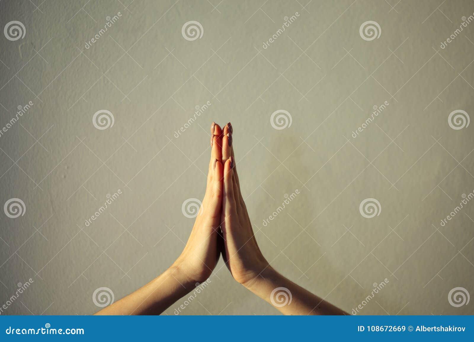 Женские руки совместно конец-вверх, namaste жеста, йога, моля