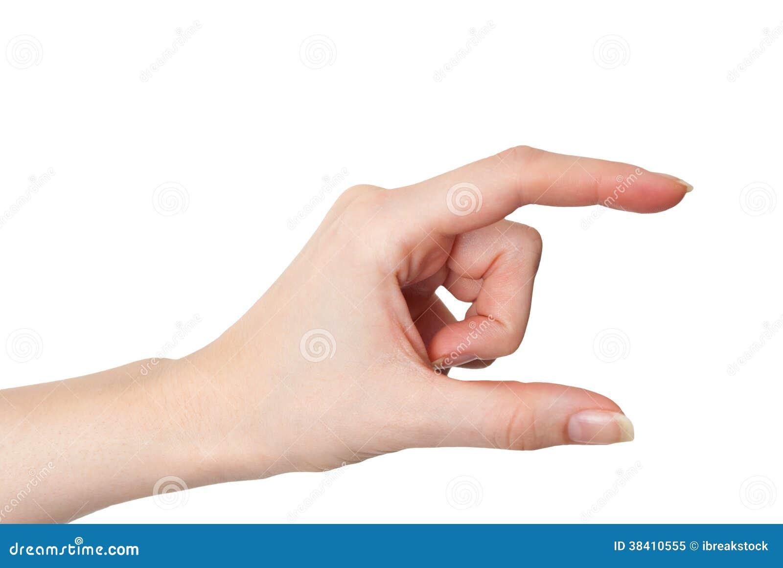 Женский изолированный жест удерживания или измерять руки