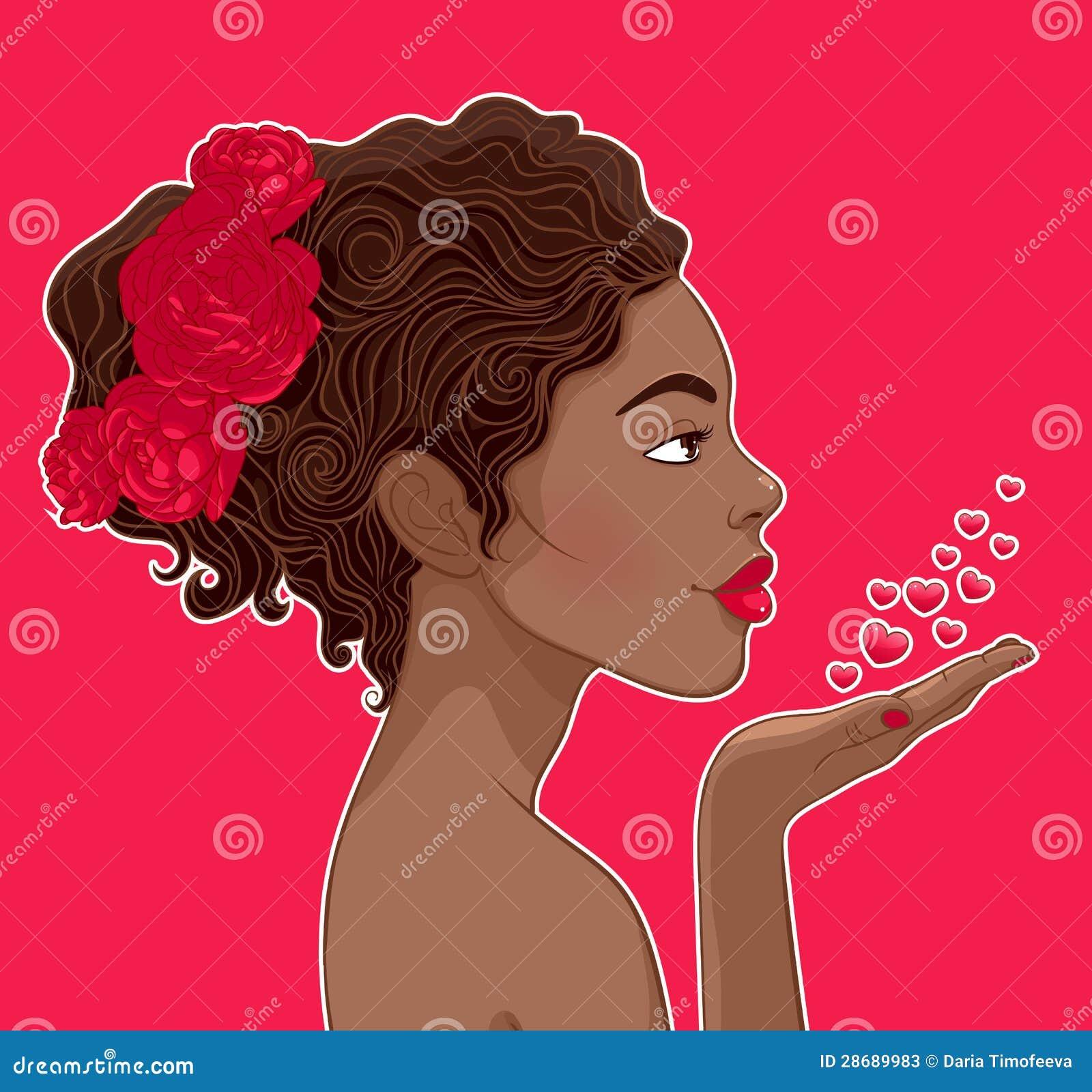 Женщина Афроамериканца в влюбленности