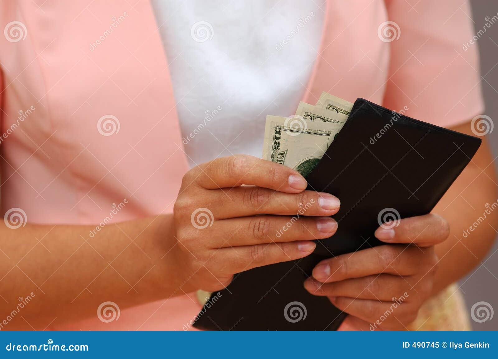 женщина бумажника дег