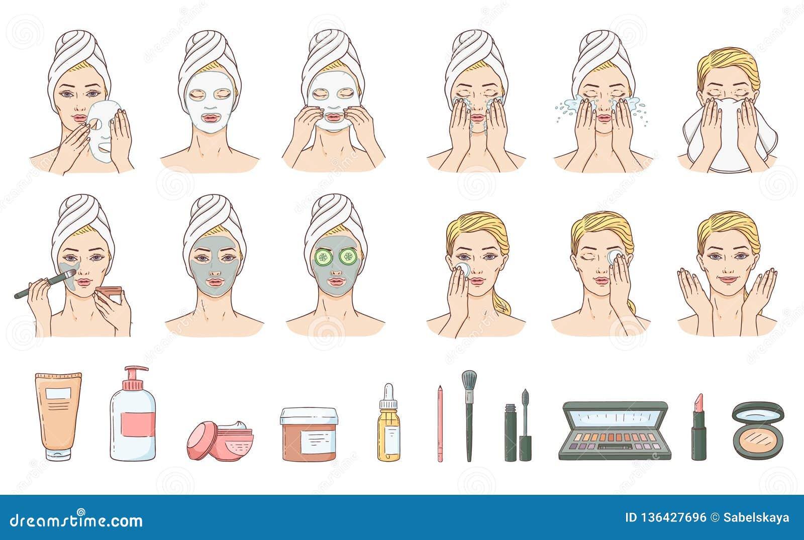 Женщина вектора прикладывая лицевую маску, обработку стороны