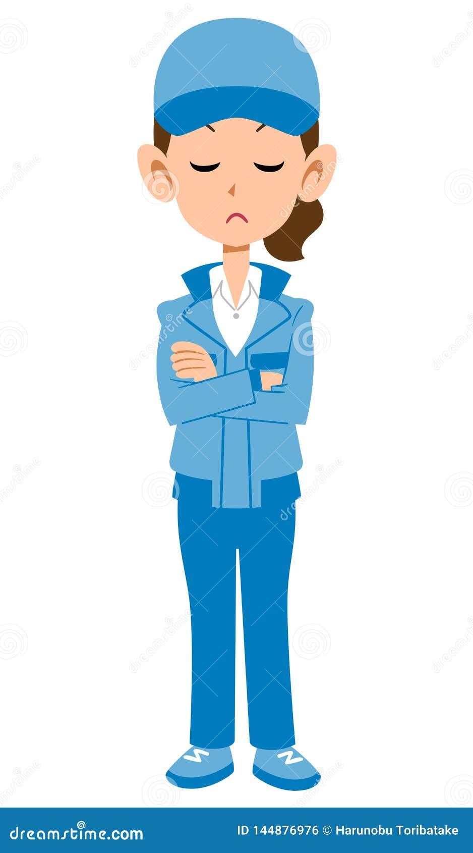 Женщина в голубой мысли рабочей одежды