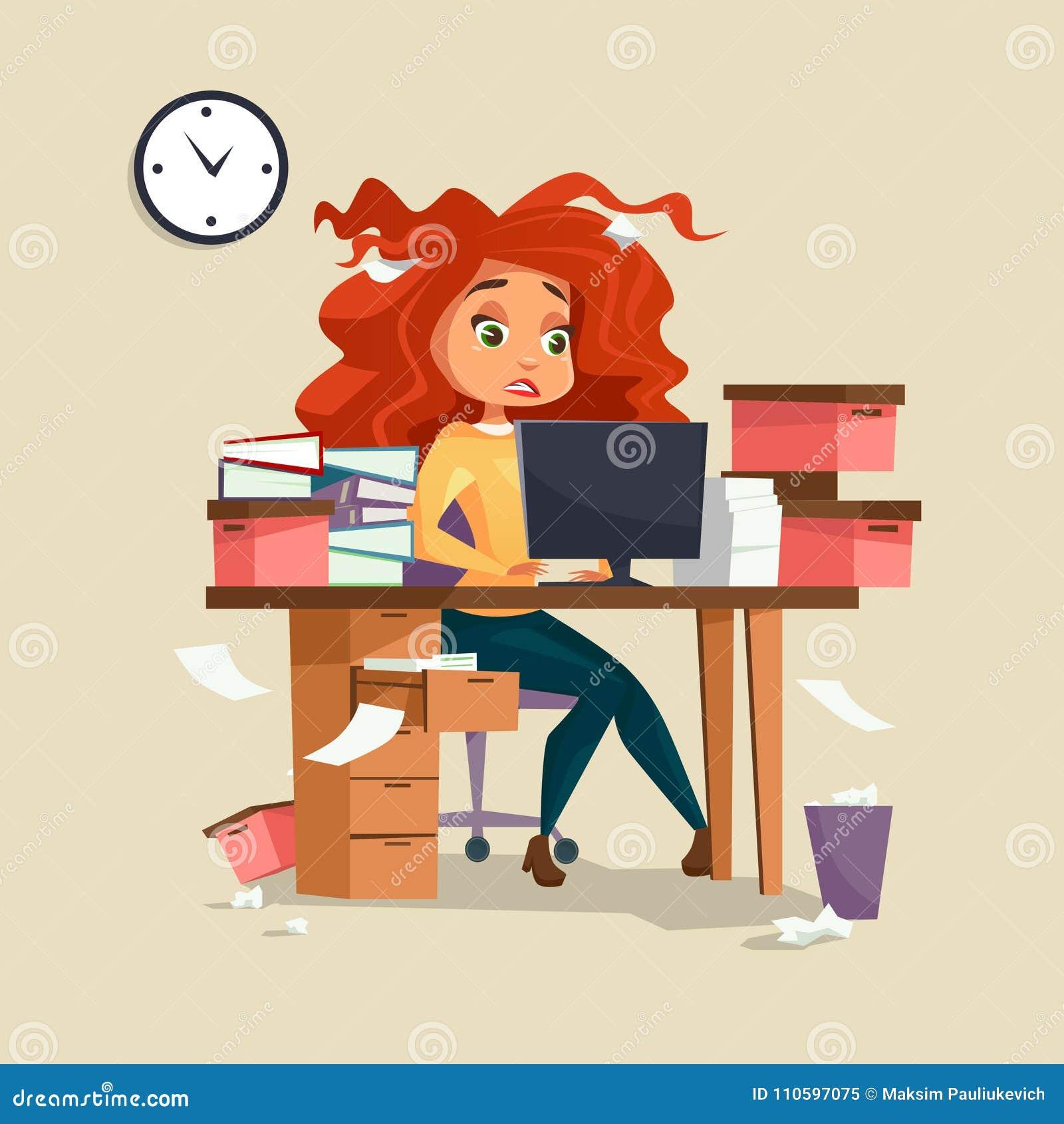 Женщина в иллюстрации вектора стресса офиса перегрузок крайнего срока менеджера девушки шаржа работая с disheveled грязными волос