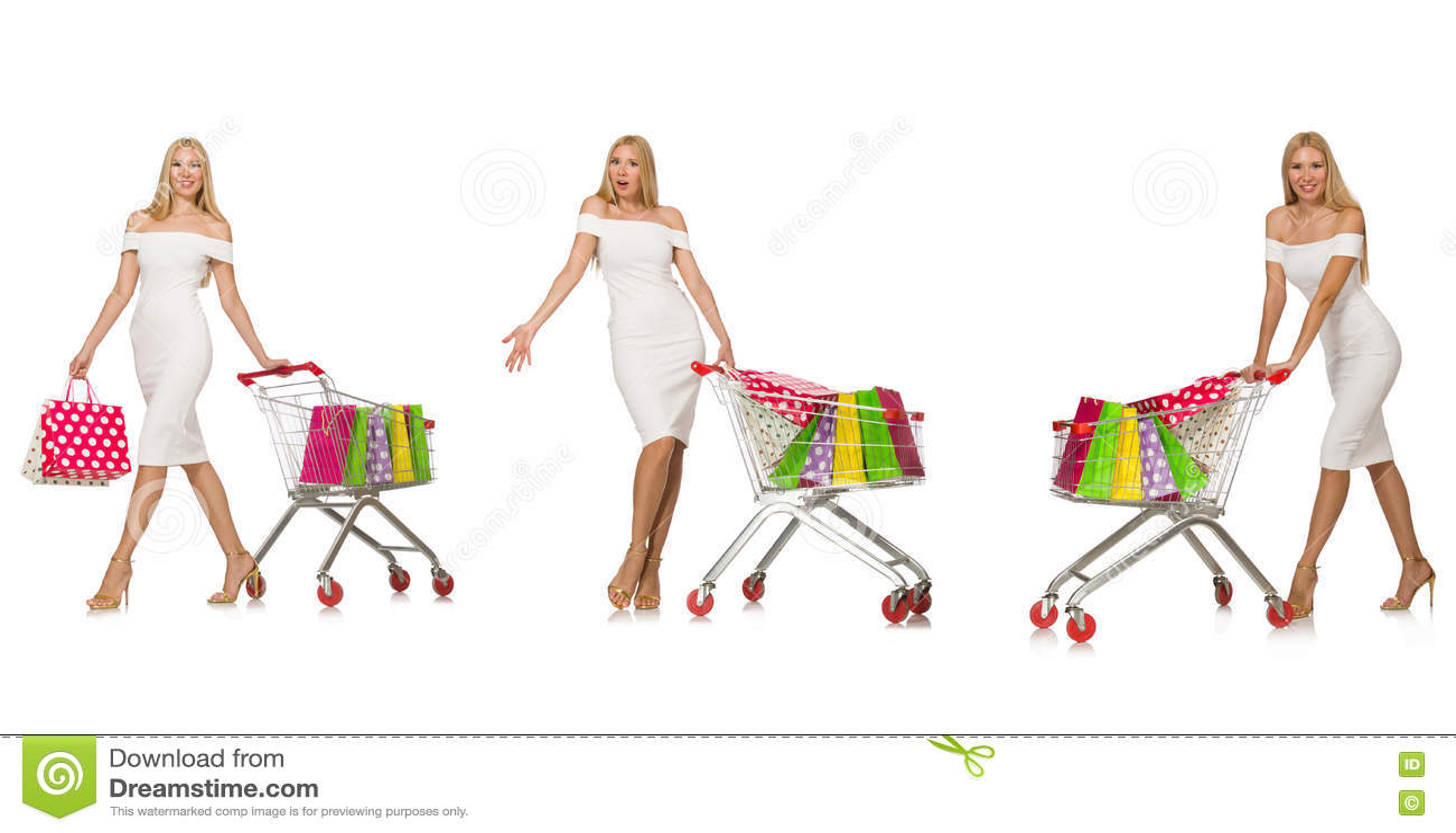 Женщина в концепции покупок изолированная на белизне