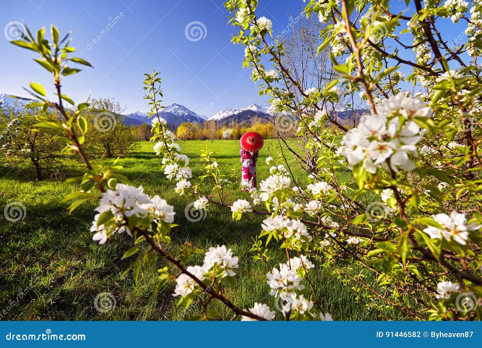 Женщина в красном костюме на вишневом цвете