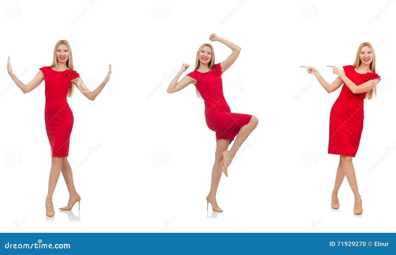 Женщина в красном платье изолированном на белизне