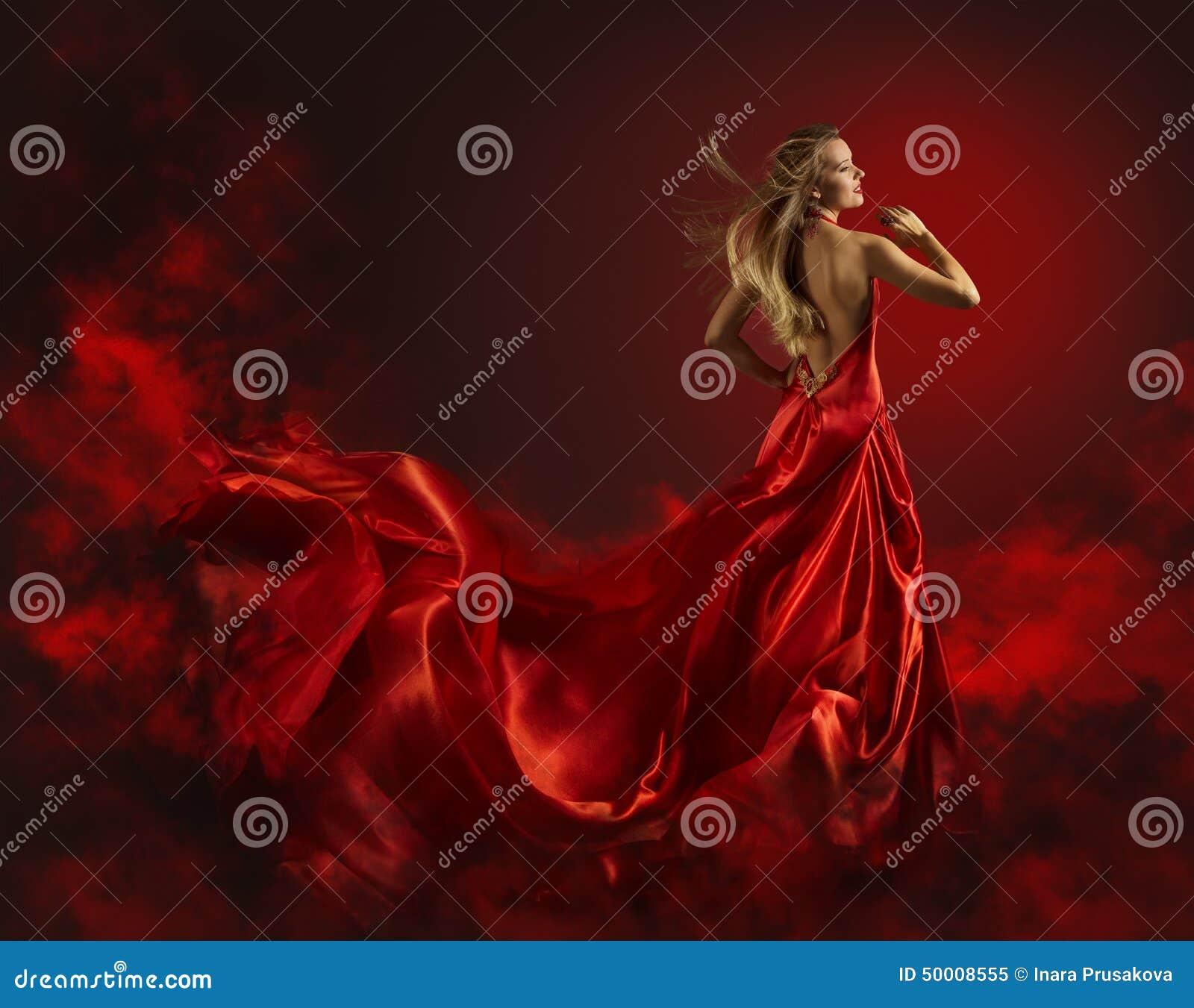 Женщина в красных платье, даме Фантазии Одевать Летании и развевать