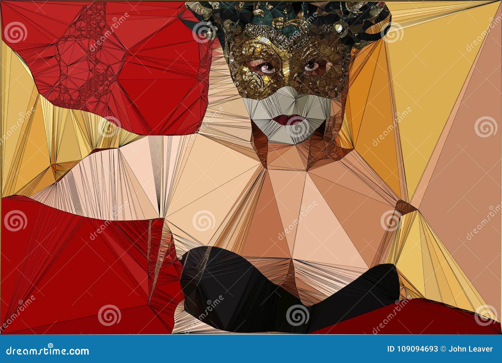 Женщина геометрического дизайна в маске