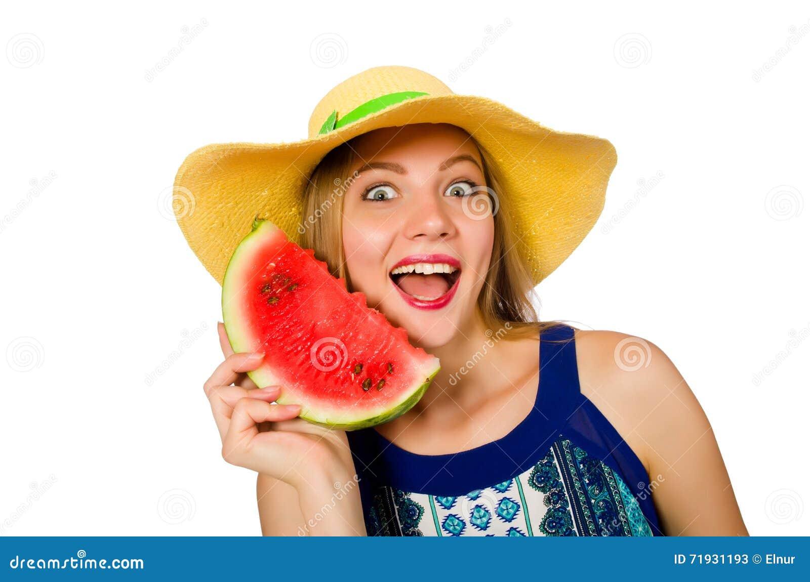 Женщина есть арбуз изолированный на белизне