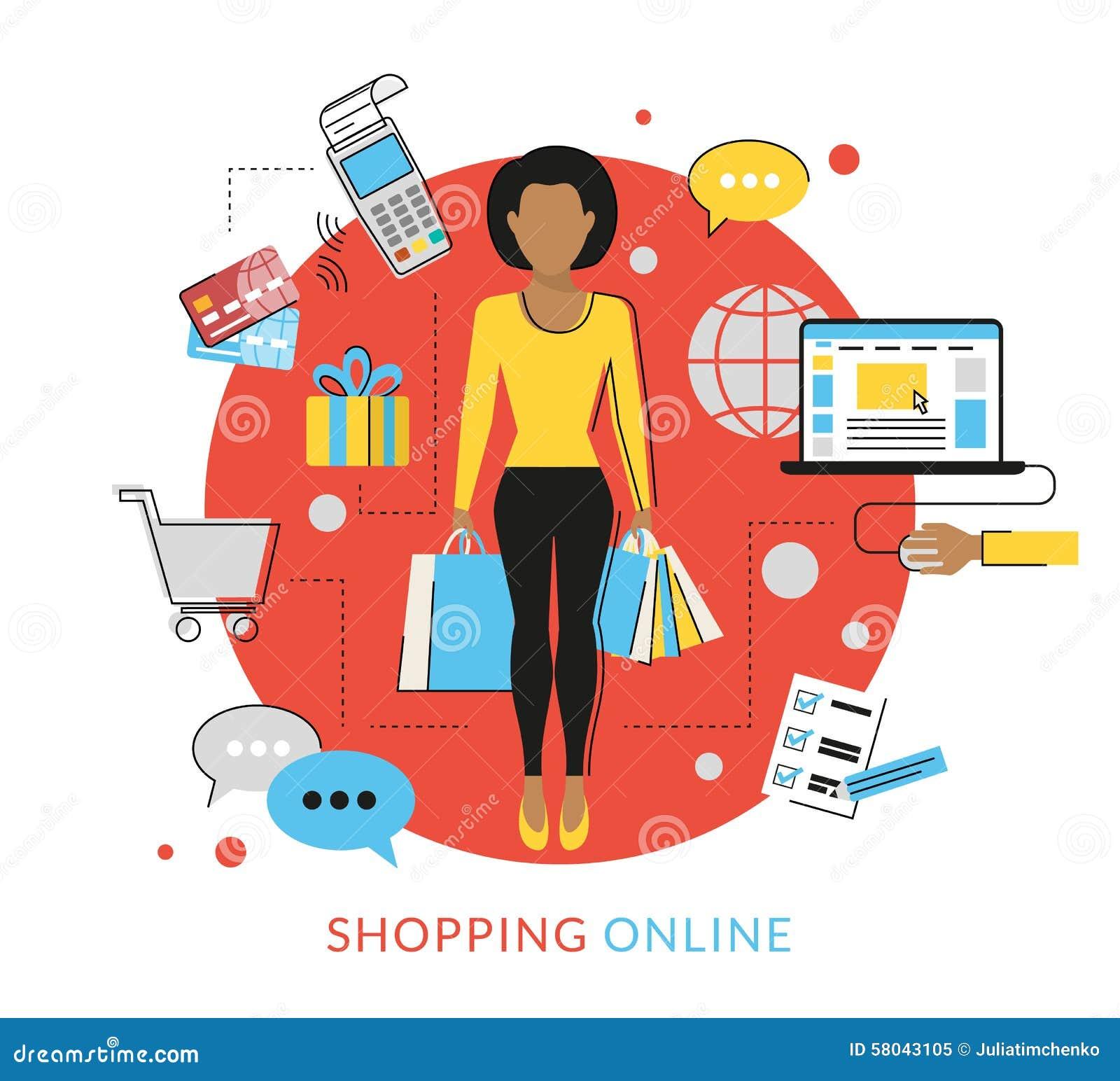 Женщина делая ходить по магазинам онлайн