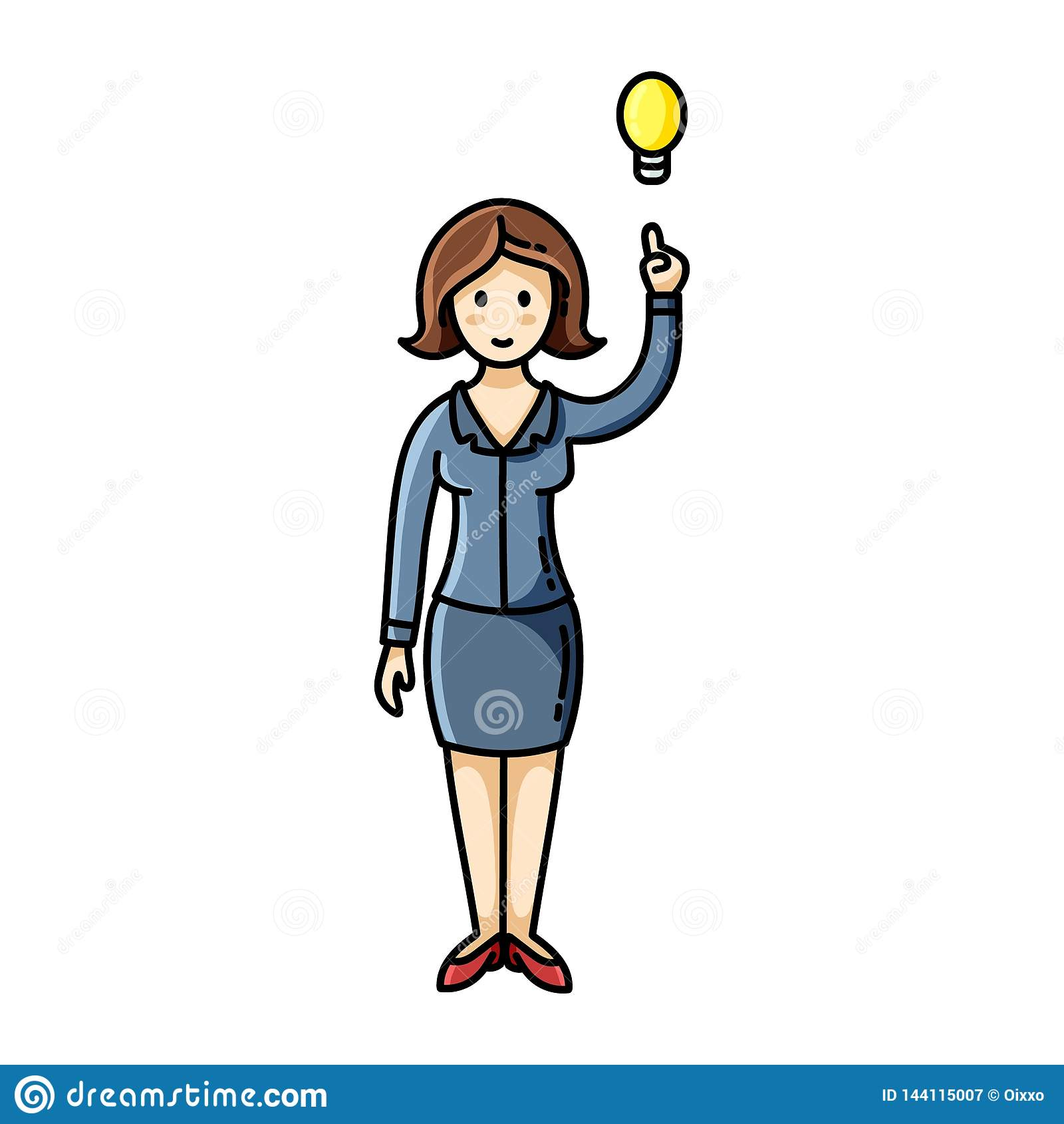 Женщина имея идею и указывая ее палец до представления лампочки r Характер вектора